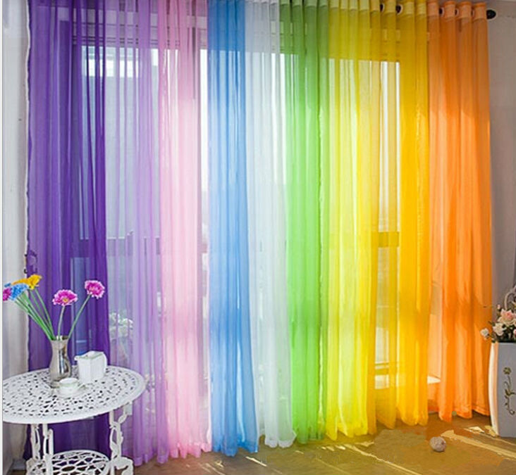 Huayin Velvet Linen Curtains Tulle Window Curtain For: Home Decor Tulle Voile Window Drape Curtain Panel Divider