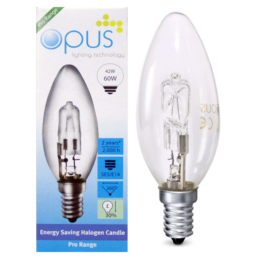 10 x opus 42w 60w candle ses e14 small screw long life clear halogen light bulb ebay. Black Bedroom Furniture Sets. Home Design Ideas