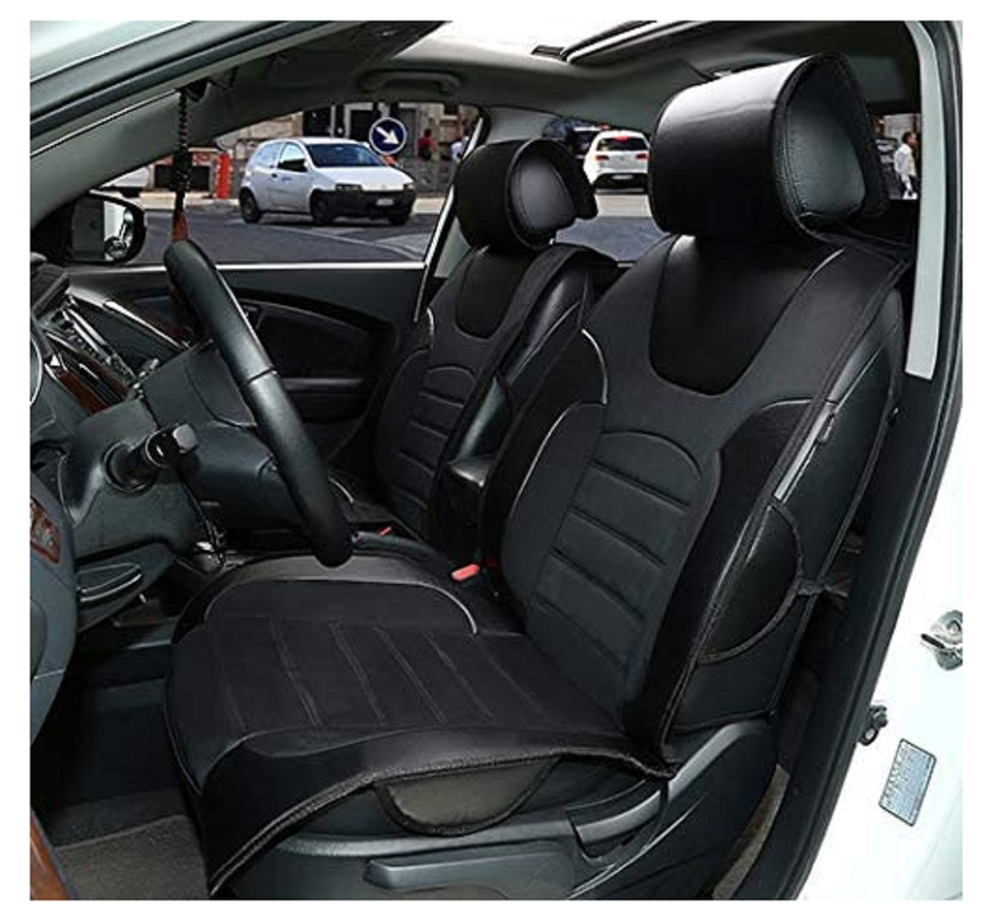 car seat covers cushions leather like 2 front solid black for chevrolet ebay. Black Bedroom Furniture Sets. Home Design Ideas