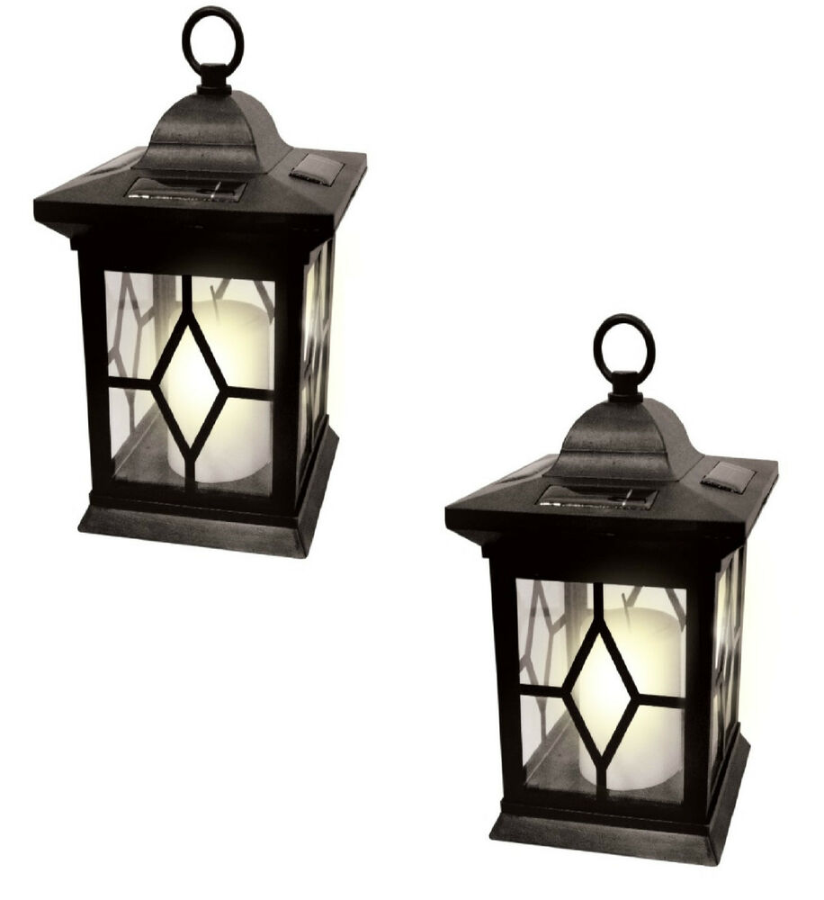Solar Garden Light Lantern: 2 X SOLAR POWERED HANGING CANDLE LANTERN GARDEN TABLE LAMP
