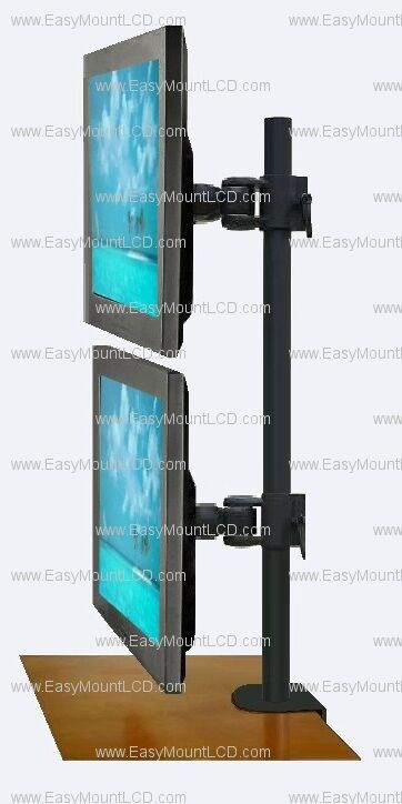 """EZM Vertical Dual LCD Monitor Mount Stand Desktop Clamp - Up To 27"""" (002-0008) eBay"""