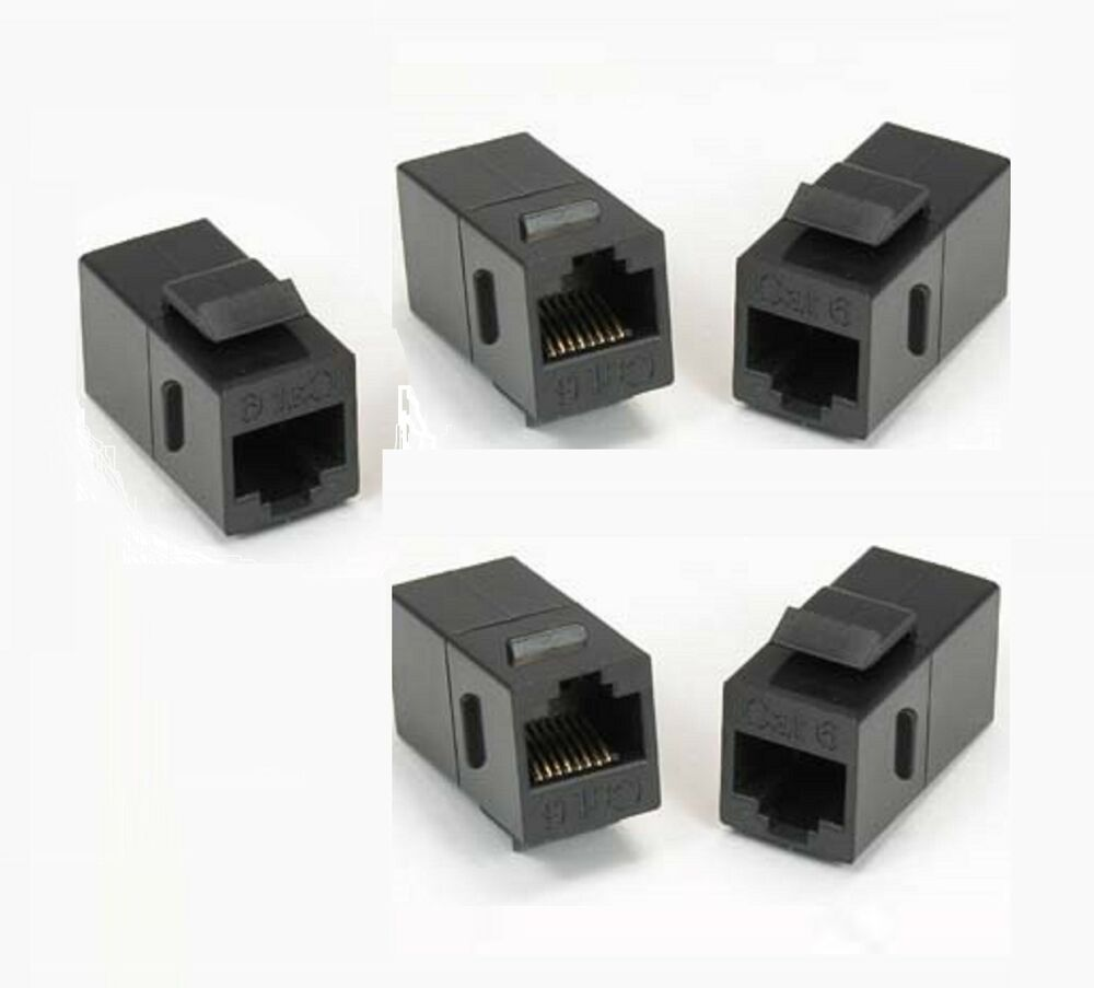5x rj45 cat 6 keystone network cable connector adapter extender plug coupler ebay. Black Bedroom Furniture Sets. Home Design Ideas