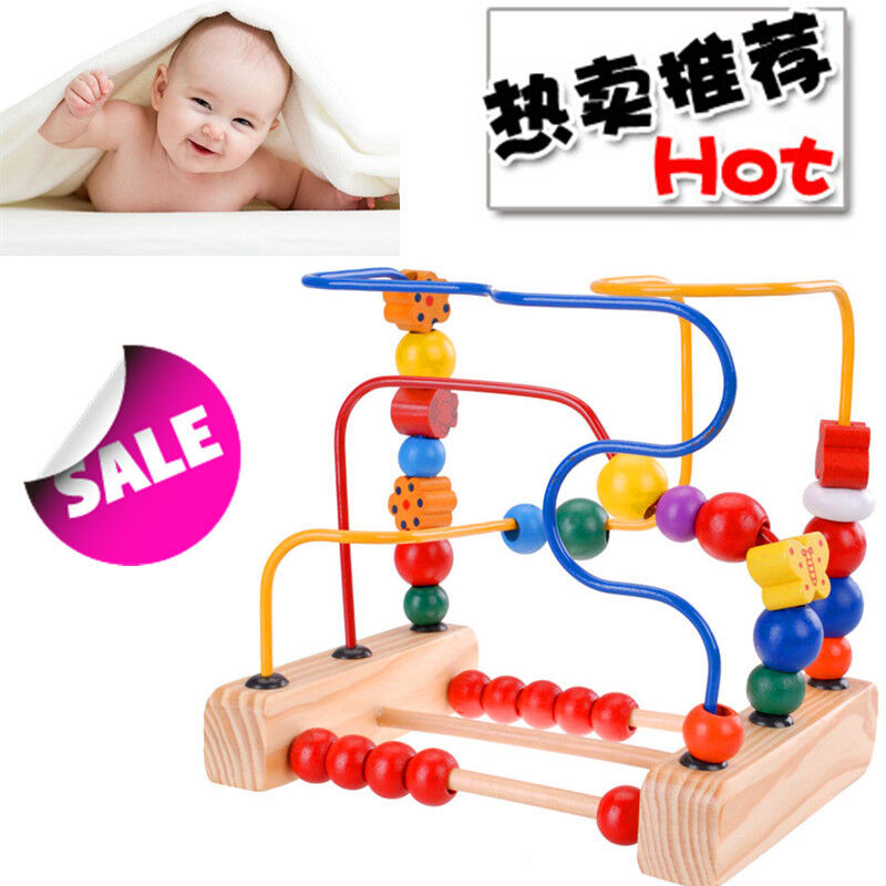Preschool Manipulative Toys : New safe durable first bead maze wood manipulative