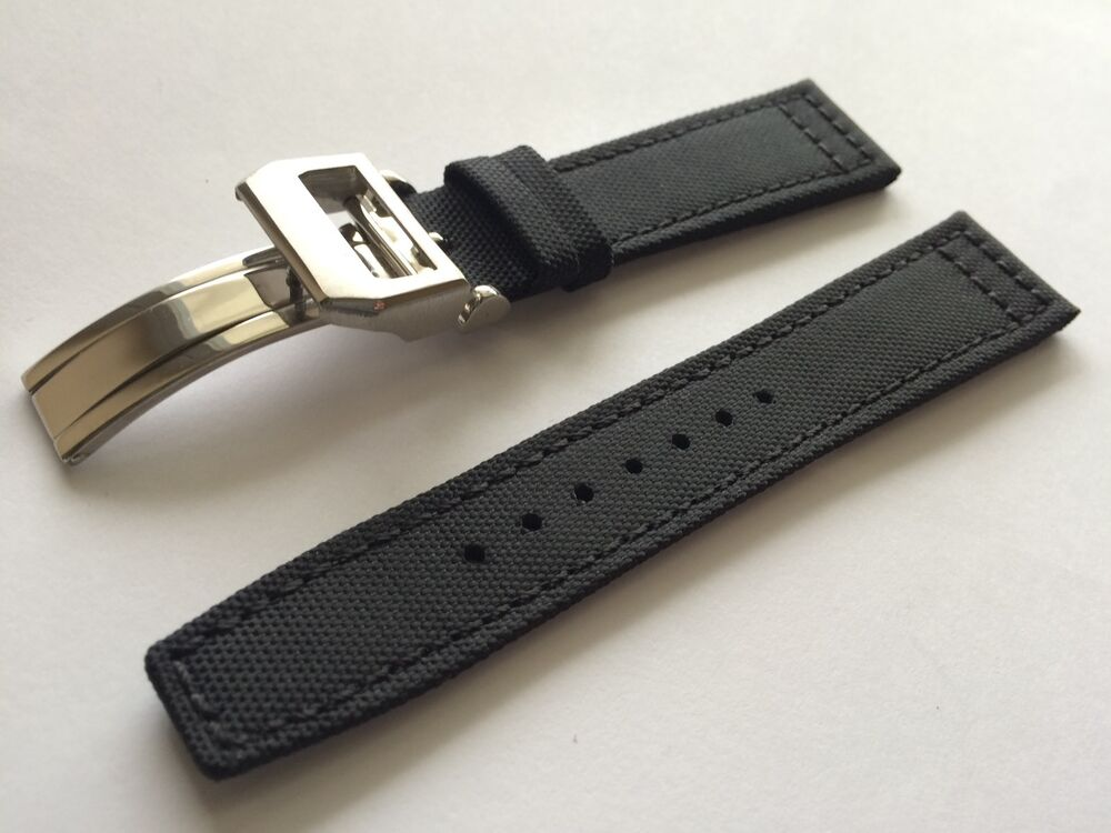 21mm Nylon Fabric Leather Watch Band Strap for iwc pilot ...