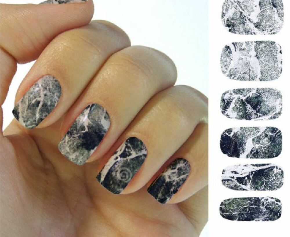 Grey stone Nail sticker decal 2 sheets fingernail manicure ...