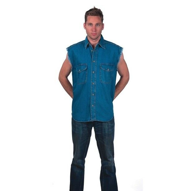 Mens motorcycle dark blue yellow ash colors frayed for How to cut sleeves off a shirt