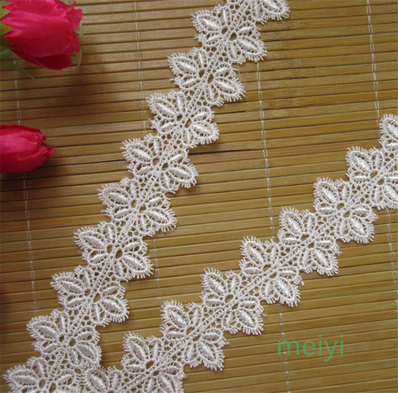 3yd vintage white embroidered lace trim wedding ribbon for Craft ribbons and trims