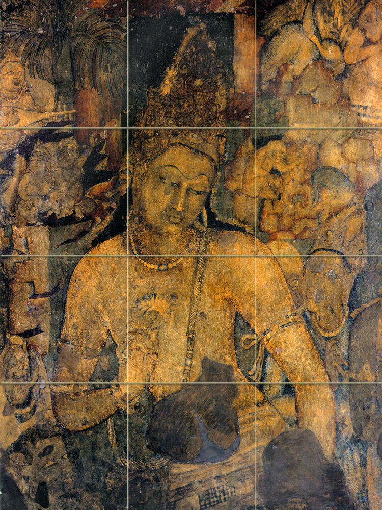 Ancient indian art ajanta mural tumbled marble backsplash for Ajanta mural painting