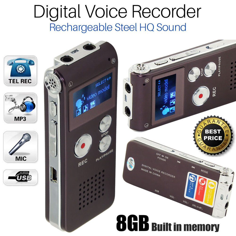 rechargeable digital sound recorder 8gb steel voice. Black Bedroom Furniture Sets. Home Design Ideas