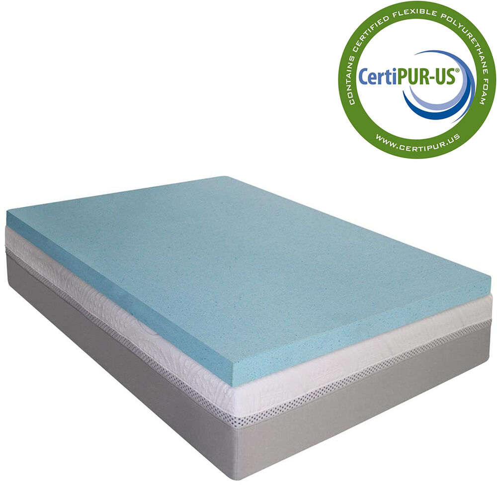 Mattress Topper Gel Memory Foam 2 Inch All Natural Absorb Moisture Extra Layer Ebay