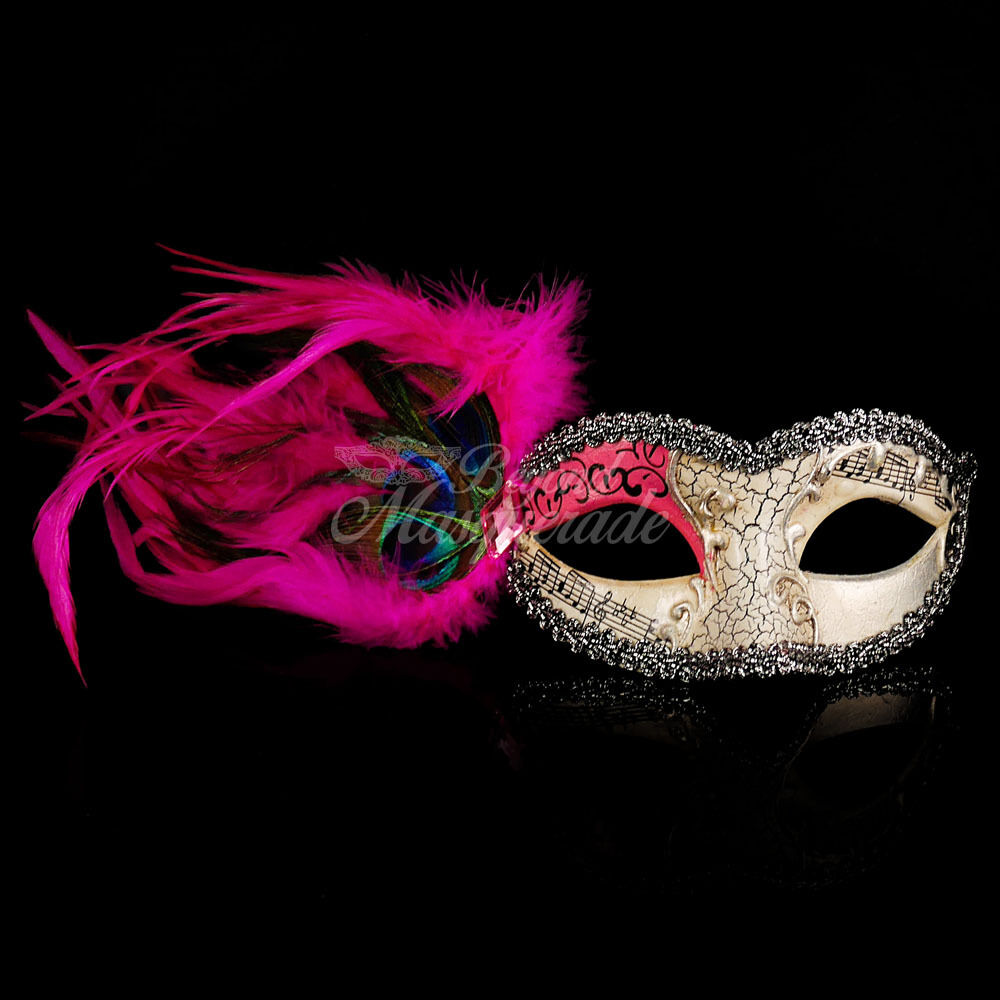 Pink Musical Masquerade Mask - Peacock Feather Mask ...