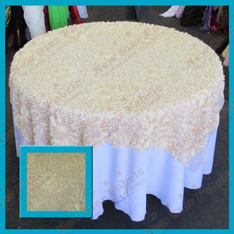 Table overlay rosette chiffon 52 x 52 inches square for Table runners 52 inches