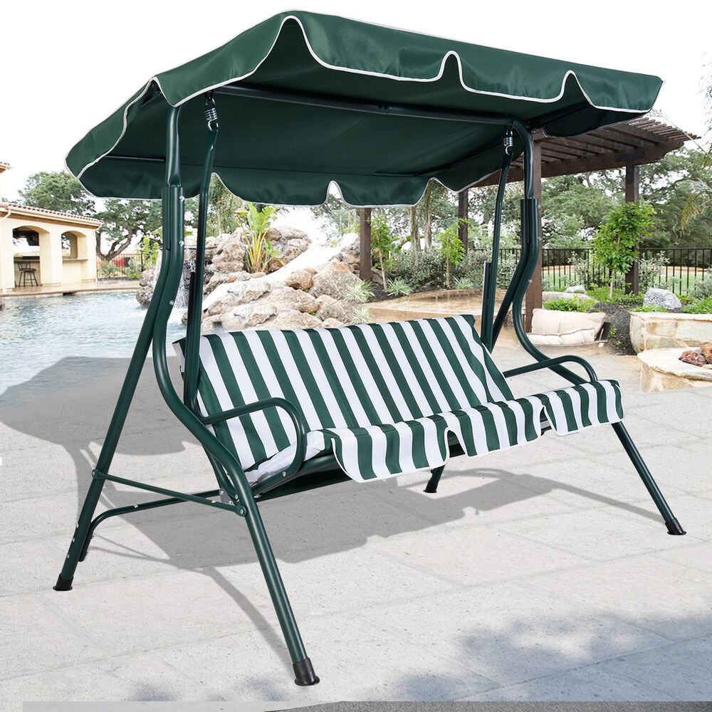 green outdoor patio swing canopy 3 person awning yard furniture hammock steel 653801893571 ebay. Black Bedroom Furniture Sets. Home Design Ideas