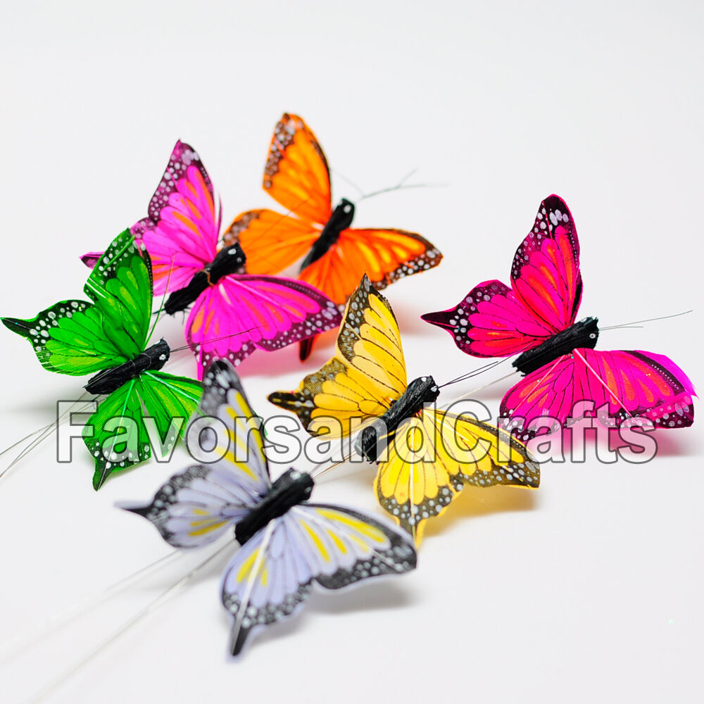 12 realistic feather butterflies crafts wedding monarch for Butterflies for crafts and decoration