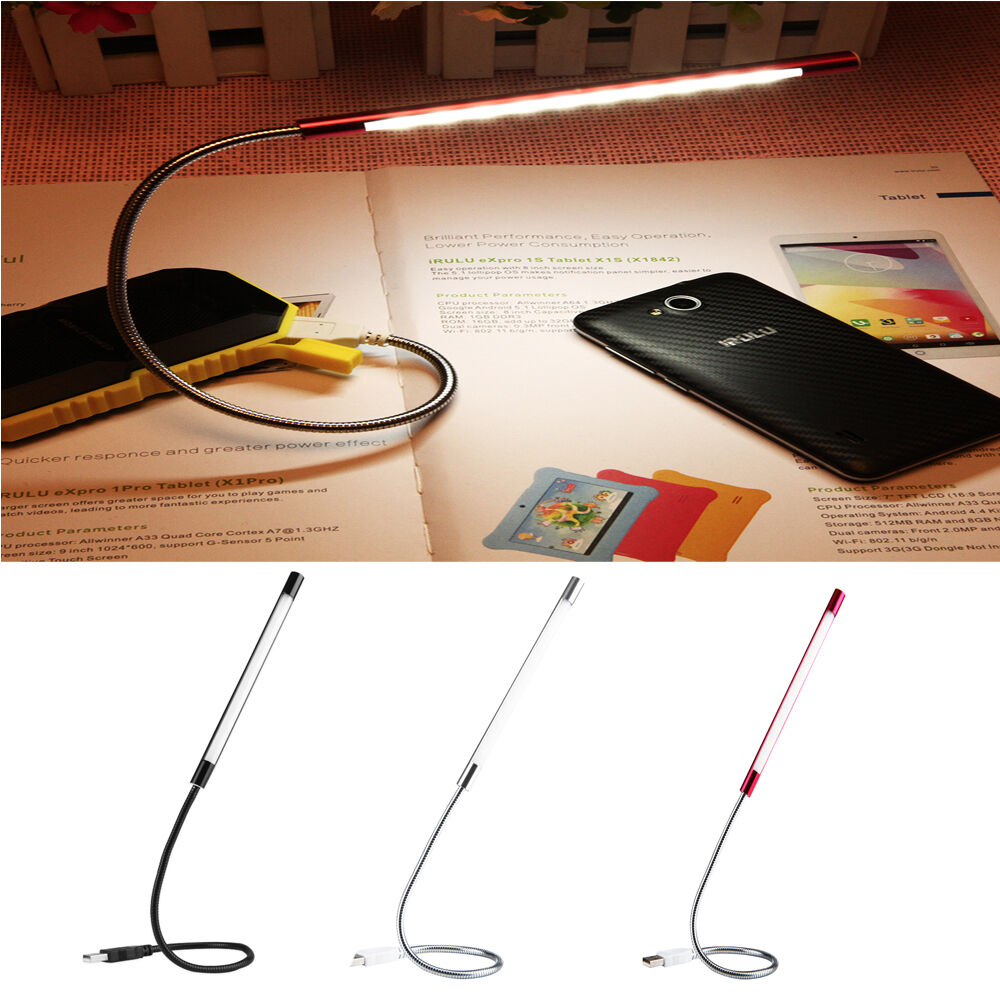 portable usb flexible stick dimmable 10 bright led lights desk readfing lamp new ebay. Black Bedroom Furniture Sets. Home Design Ideas