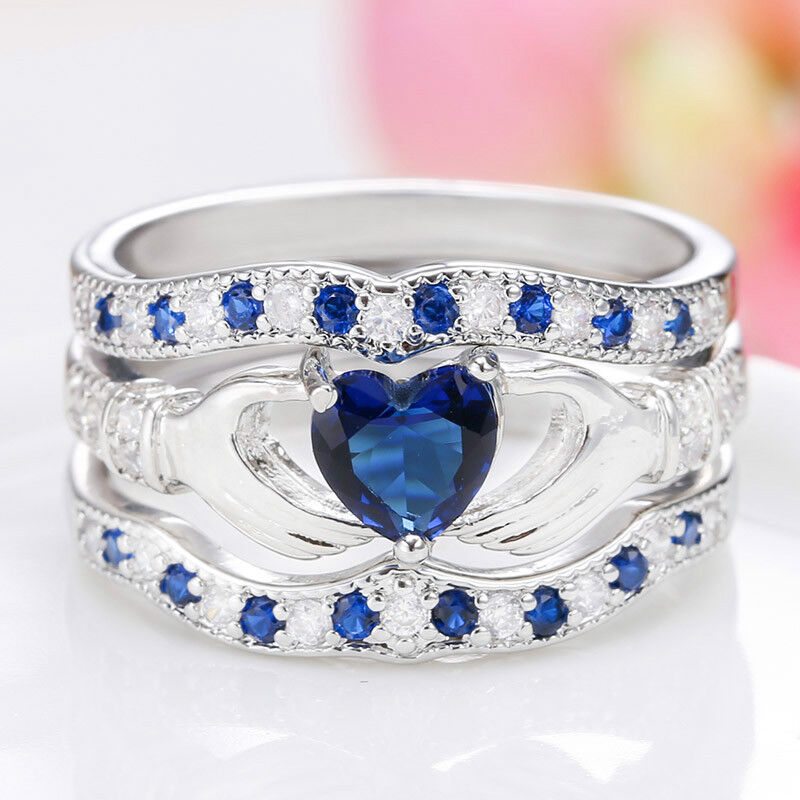 3Pcs Irish Claddagh Celtic Heart Sapphire 925 Silver Ring Wedding Bridal Set New