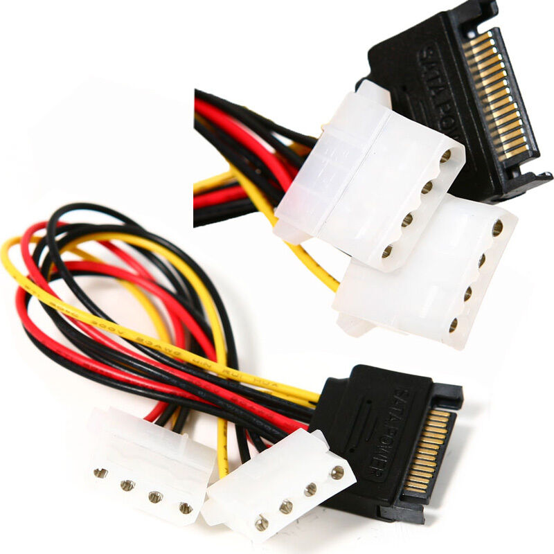 1pc macht kabel adapter dual 4 pin ide molex buchse auf 15 pin serial ata sata ebay. Black Bedroom Furniture Sets. Home Design Ideas