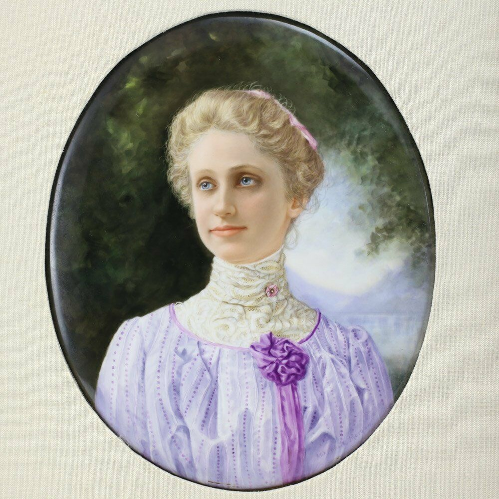 Kpm hand painted portrait mary baker eddie on porcelain for Hand painted portraits from photos