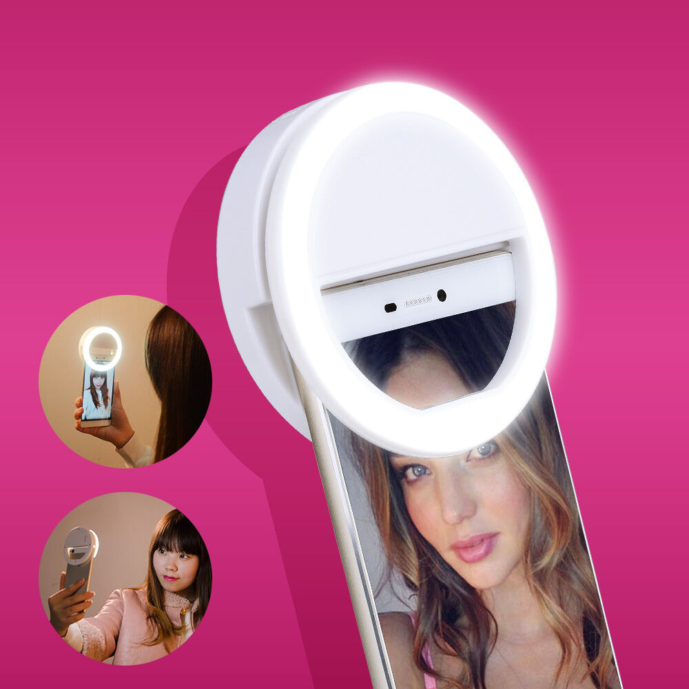 new white rechargeab led selfie ring light for mobile phone f iphone 6 plus 6s 6 ebay. Black Bedroom Furniture Sets. Home Design Ideas