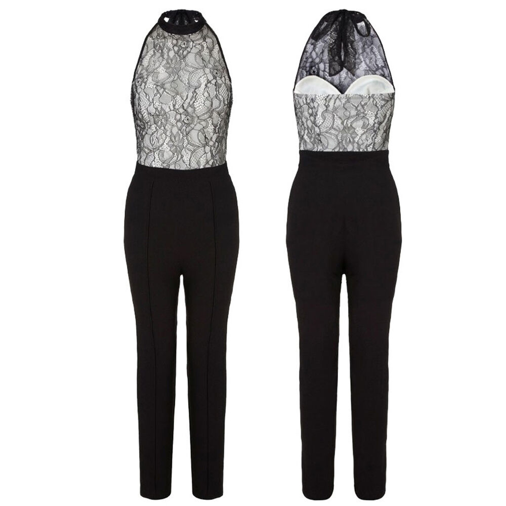 Details about Tuta pizzo donna elegante jumpsuit party nera overall party  rompers discoteca 5b9dde7ed1e
