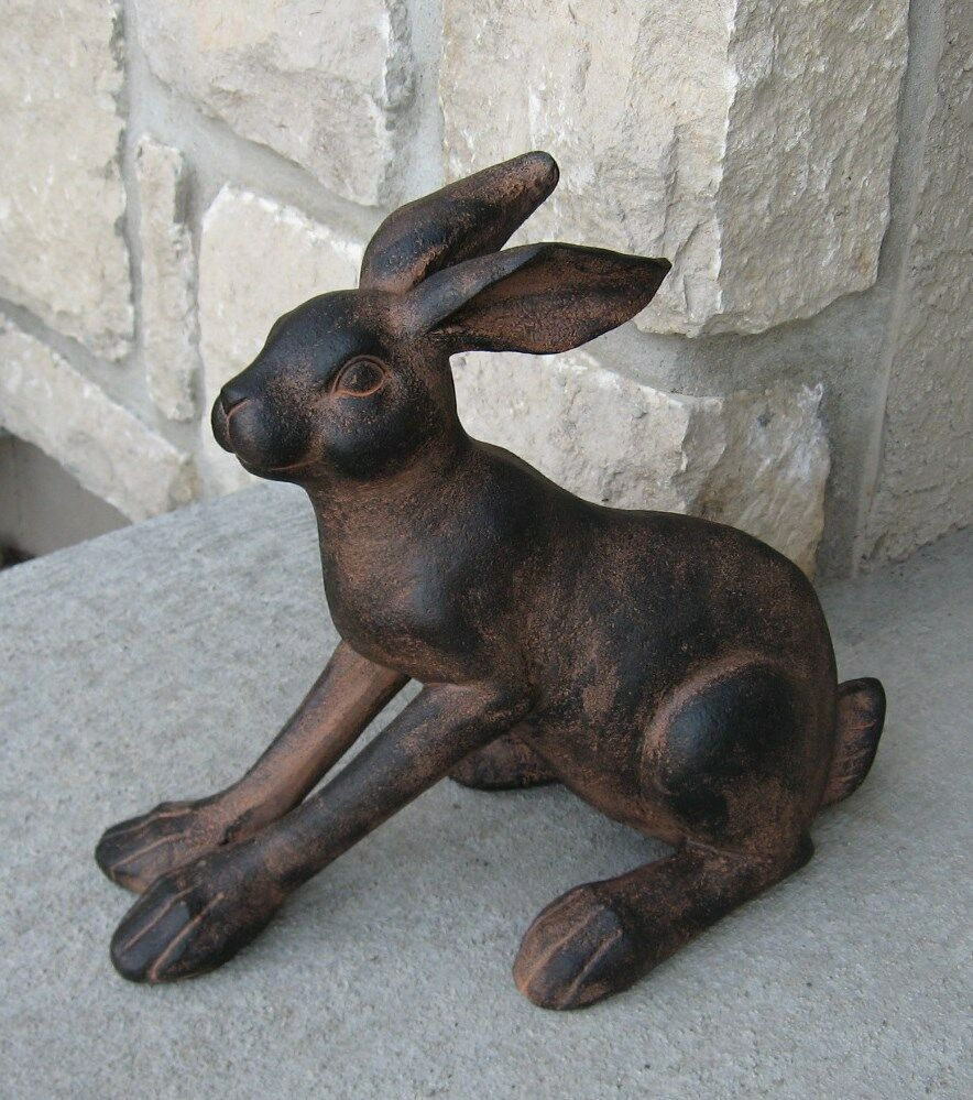 Brown bunny rabbit statue big feet primitive french for Garden rooms on ebay