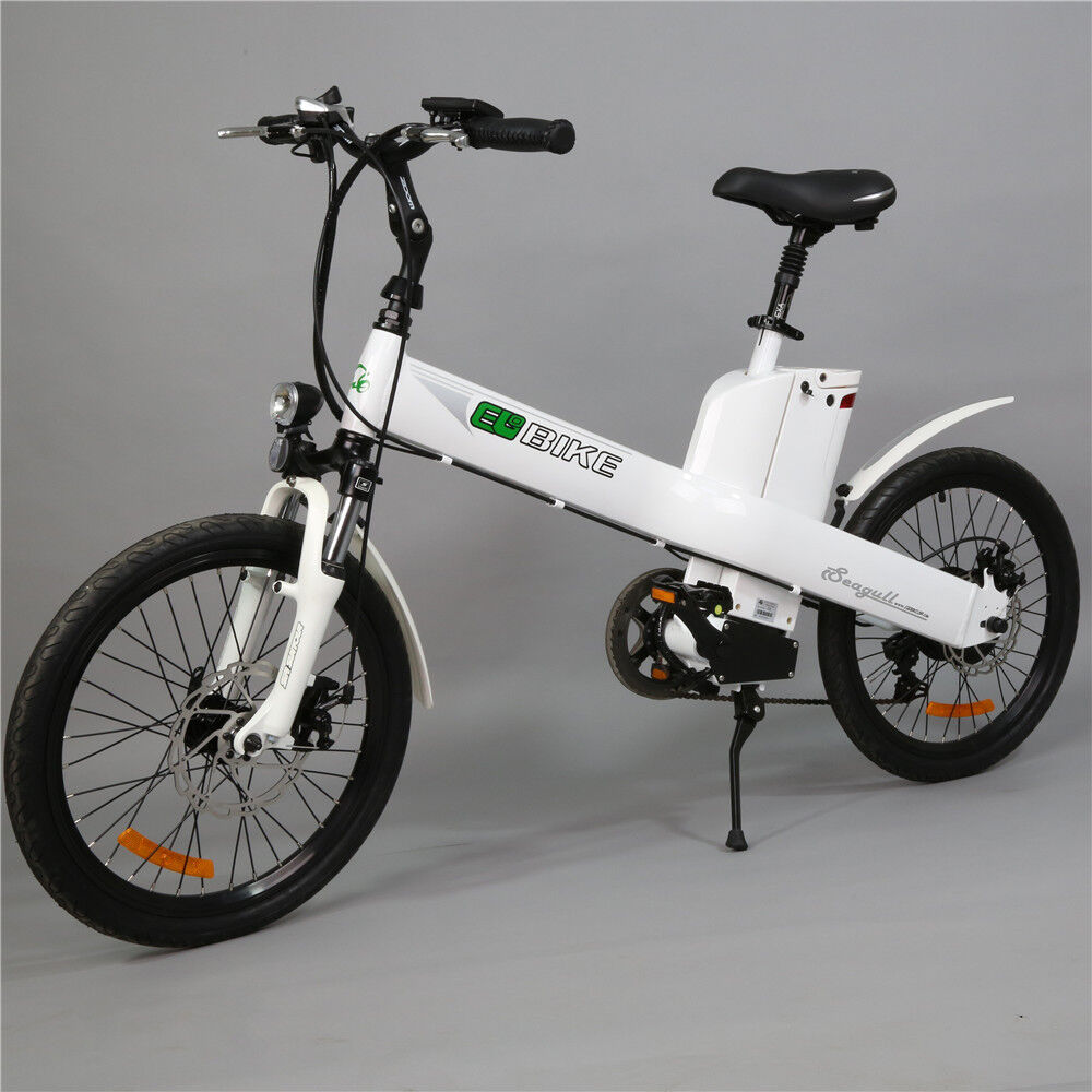 20in white electric e bike pedal assist mopped city. Black Bedroom Furniture Sets. Home Design Ideas