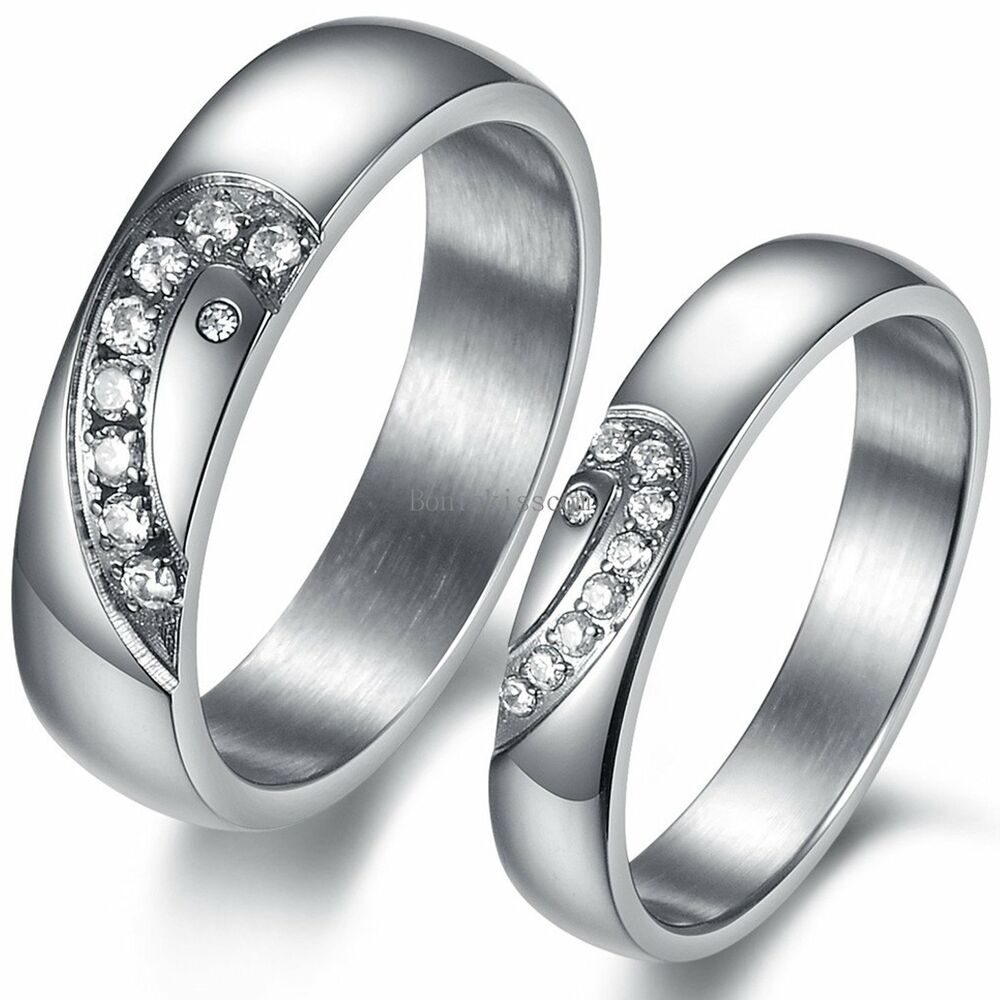 Engagement Rings For Couples: Couples Stainless Steel Matching Heart Promise Engagement