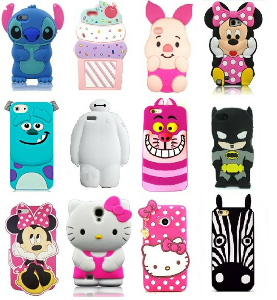 Multiple lovely 3d cartoon soft silicone rubber case cover for 3d decoration for phone cases