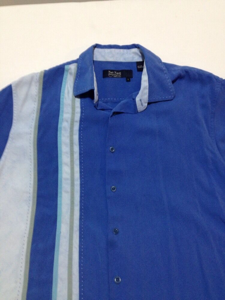 Nat Nast Men 39 S Large Short Sleeve Silk Camp Shirt Off