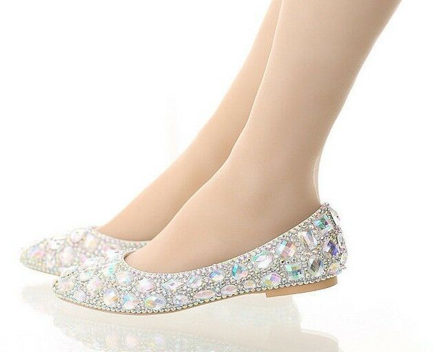wedding shoes size 12 ab iridescent gems bridal wedding flat bridesmaid 1134