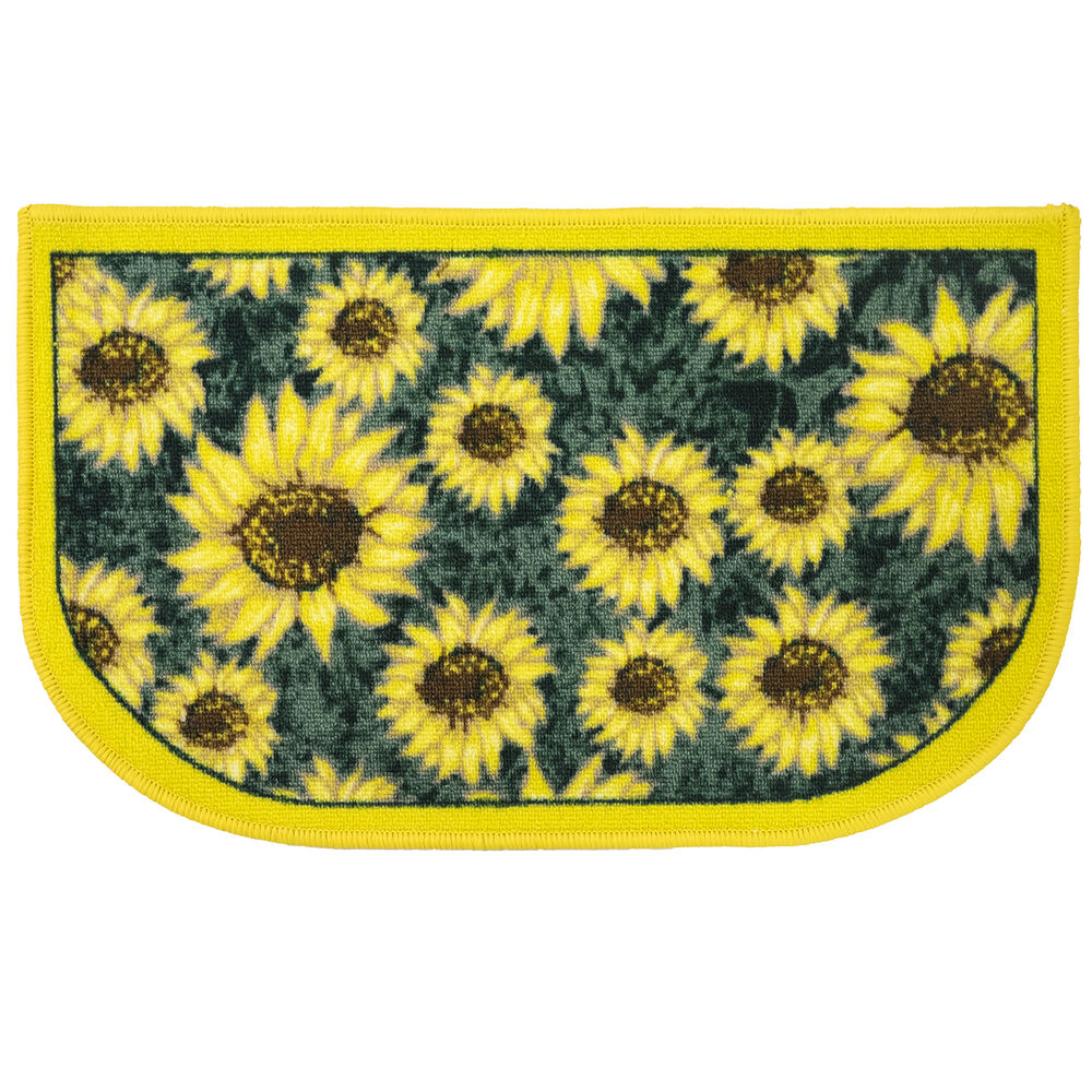 Sunflower Yellow & Green Slice Polyester Kitchen Rug