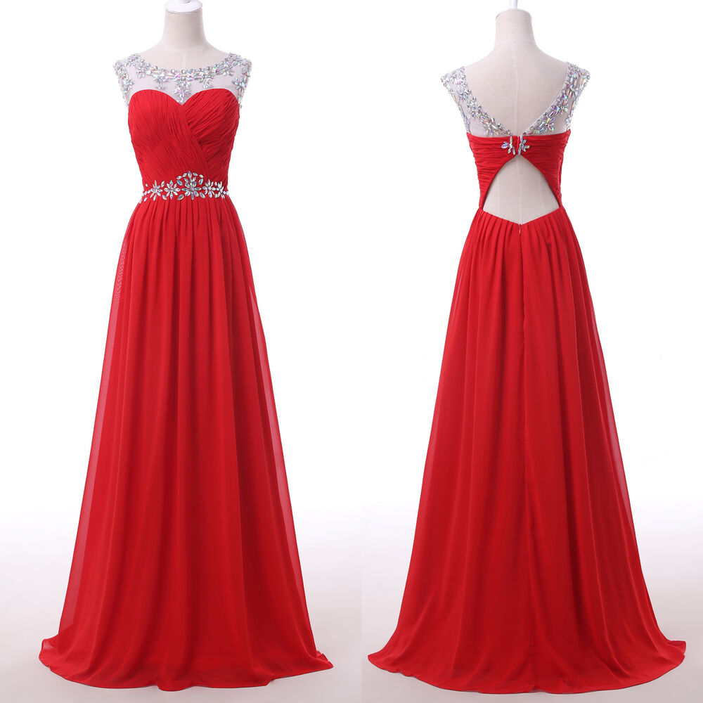Bridesmaid pageant red long prom ball gown wedding evening for Evening gown as wedding dress
