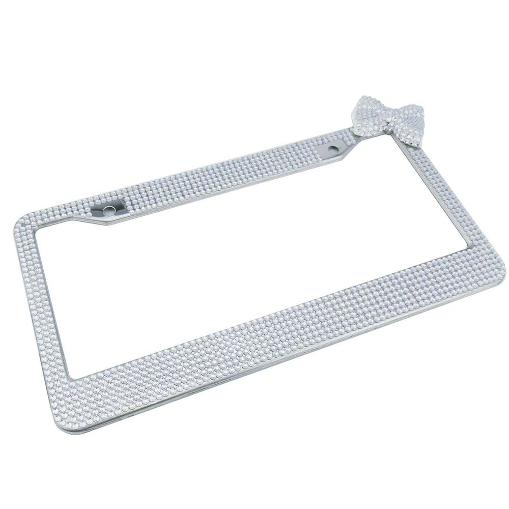 Aluminum License Plate Frame >> One Piece Silver Bling Glitter Crystal RhineStone License Plate Frame Car Auto | eBay