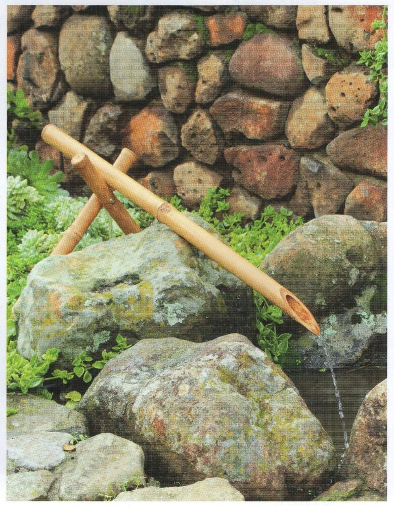 Bamboo kakehi fountain 36 spring spout and pump kit ebay for Bamboo water garden