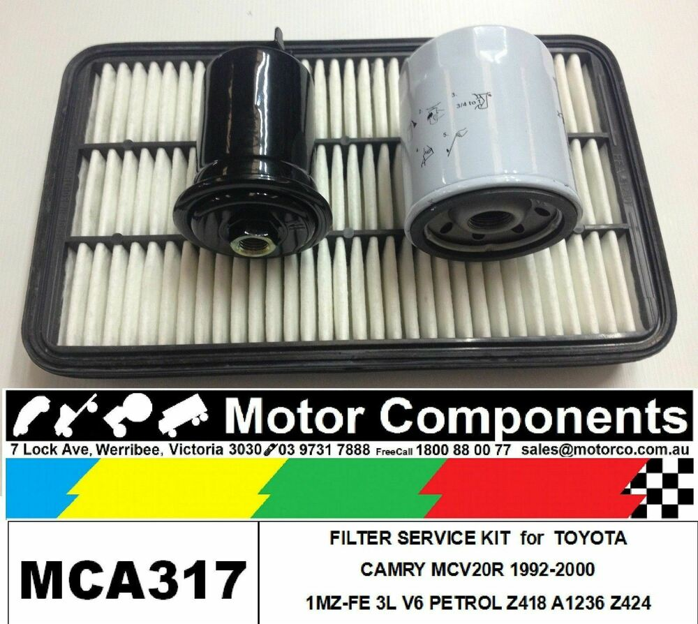 details about filter service kit air oil fuel for toyota camry mcv20r  1mz-fe 3l v6 petrol92>00