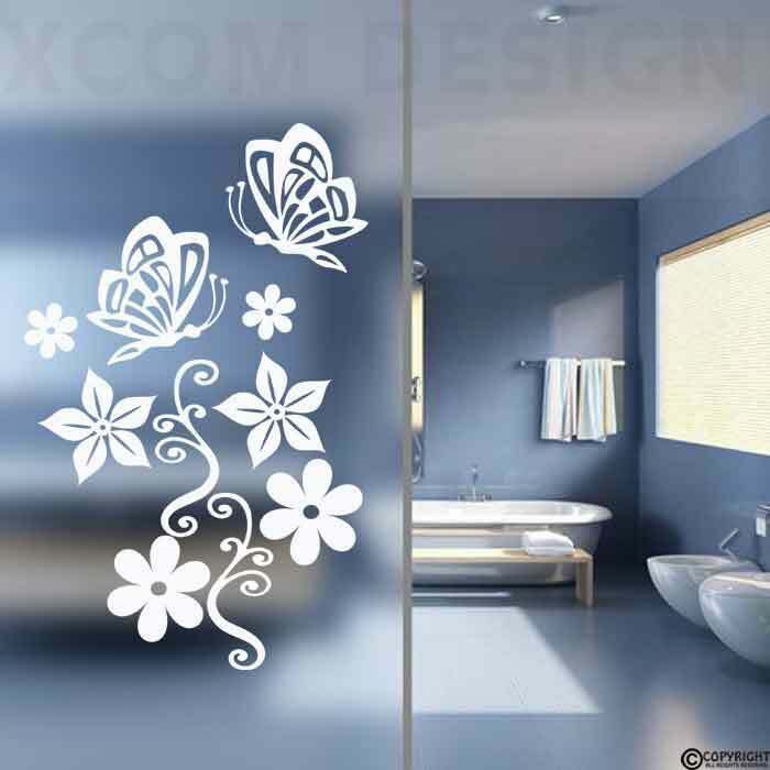 butterfly flower stickers frosted colour bathroom wall buy duchy rosetta bath screen with frosted 6mm easy clean
