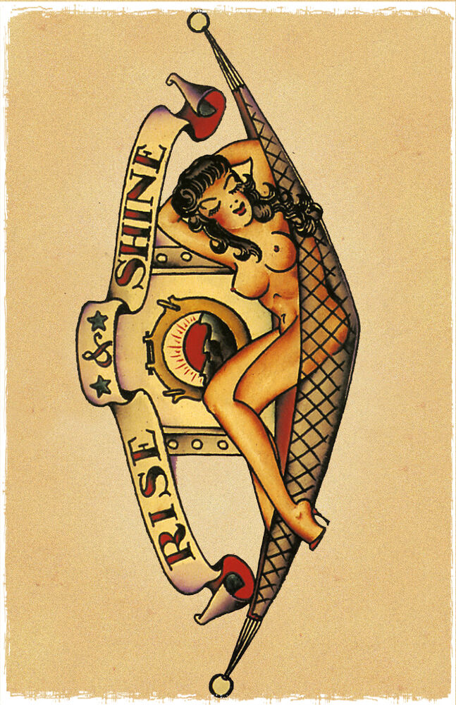 Rise shine girl vintage sailor jerry traditional style for Sailor jerry pin up tattoos