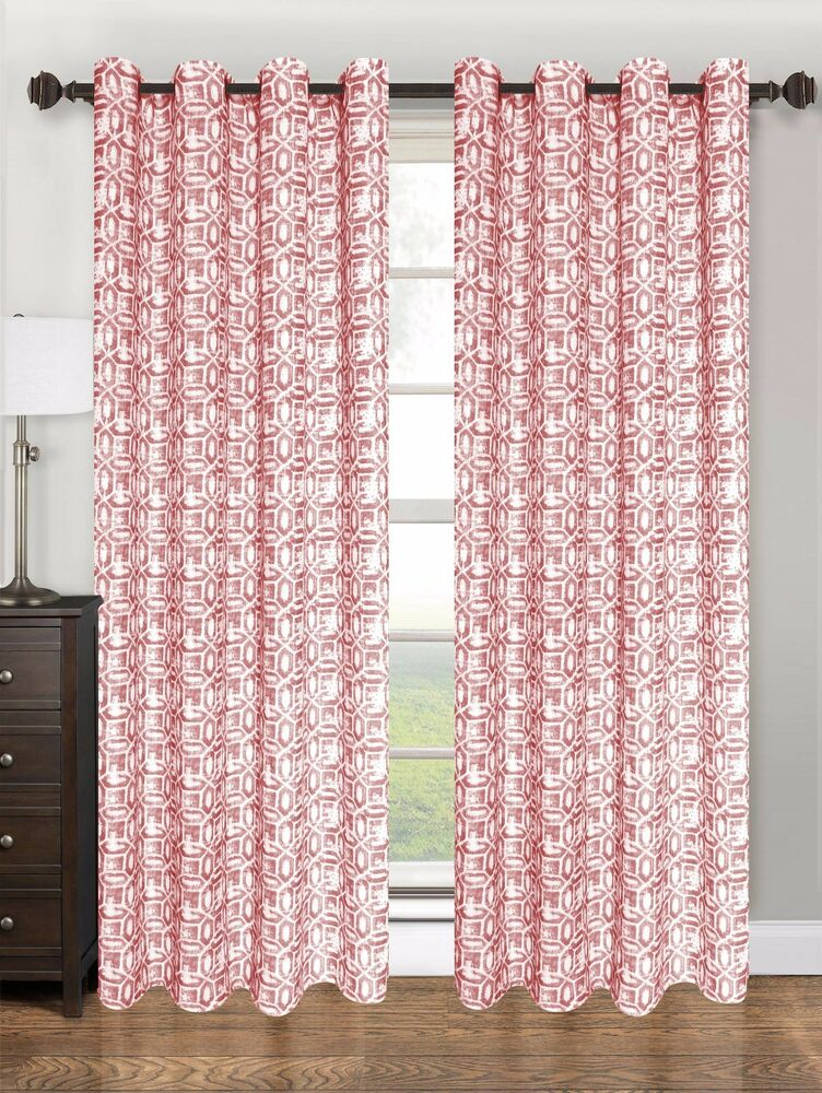 Printed geometric design grommet top window curtain panel for Window panel design