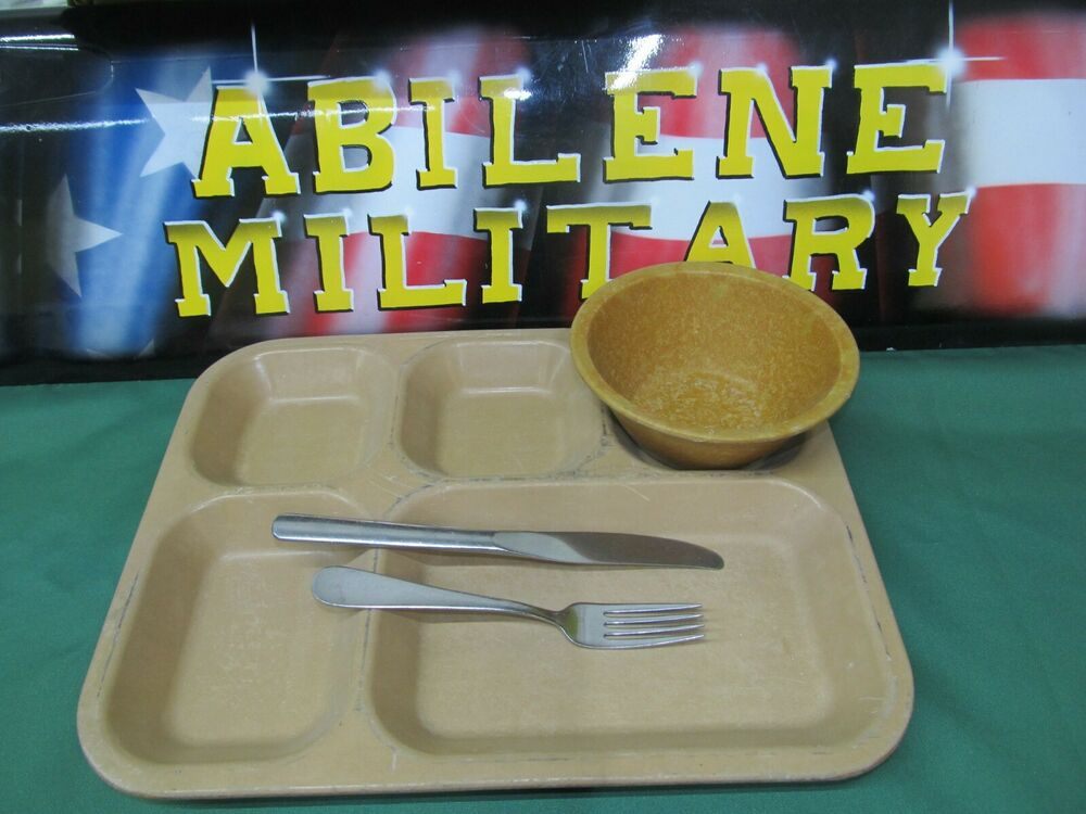 Military Mess Hall Tray Divided Food Trays Camping Cafeteria 2 Trays silverware | eBay