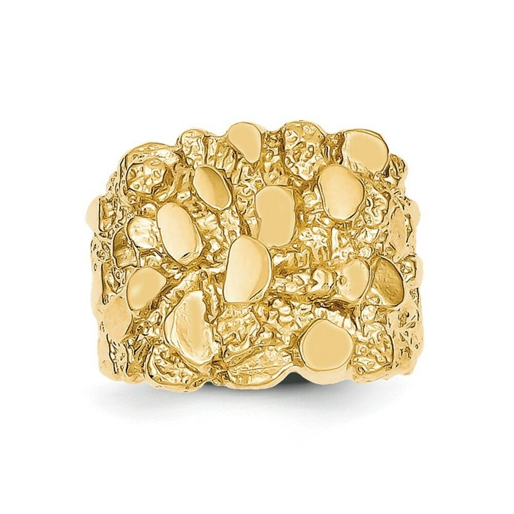 Mens Solid Gold Nugget Rings