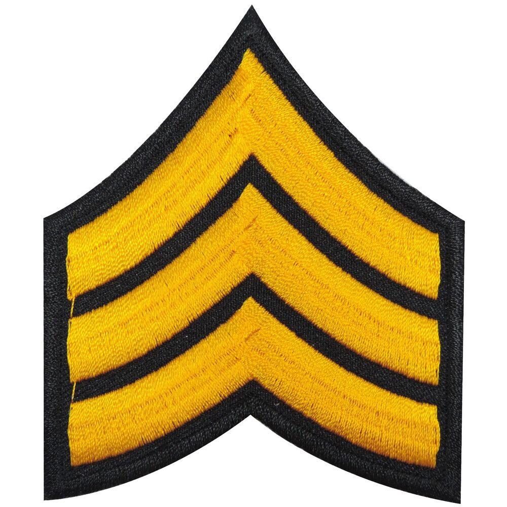 Biker Vest Patches >> US Army Sergeant Stripes Yellow Military Navy Motorcycles Iron on Patches #1344 | eBay