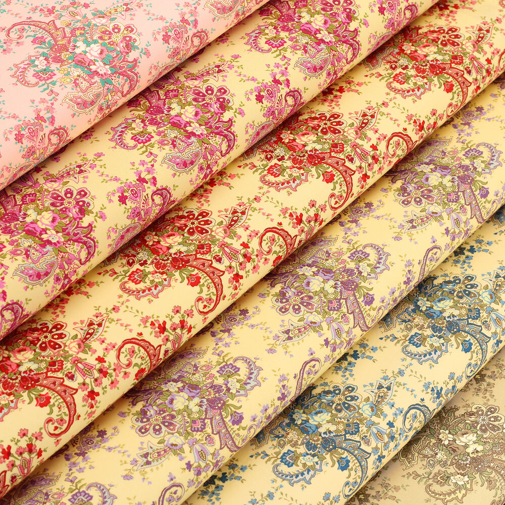 Cotton fabric by fq vintage paisley rose flower bouquet for Vintage fabric