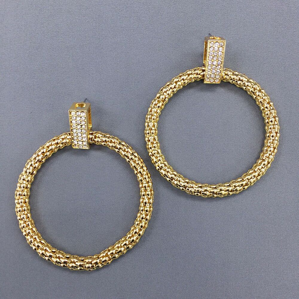 Gold Finish Rhinestone Urban Inspired Hoop Style Earrings