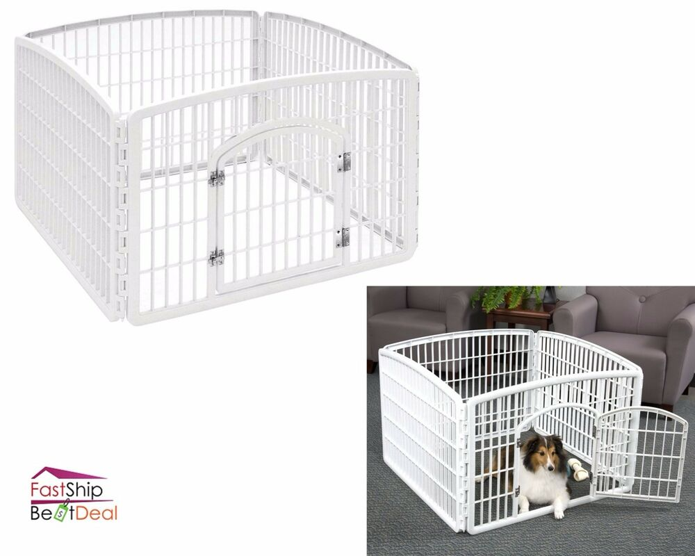 heavy duty pet playpen plastic 4 panel exercise dog fence. Black Bedroom Furniture Sets. Home Design Ideas