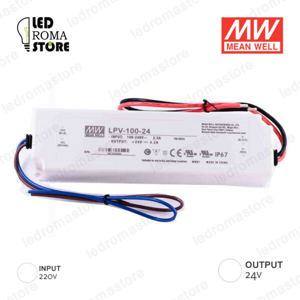 ALIMENTATORE SWITCHING MW 100W 24V DC 4.16A IP67 MEAN WELL LPV-100-24