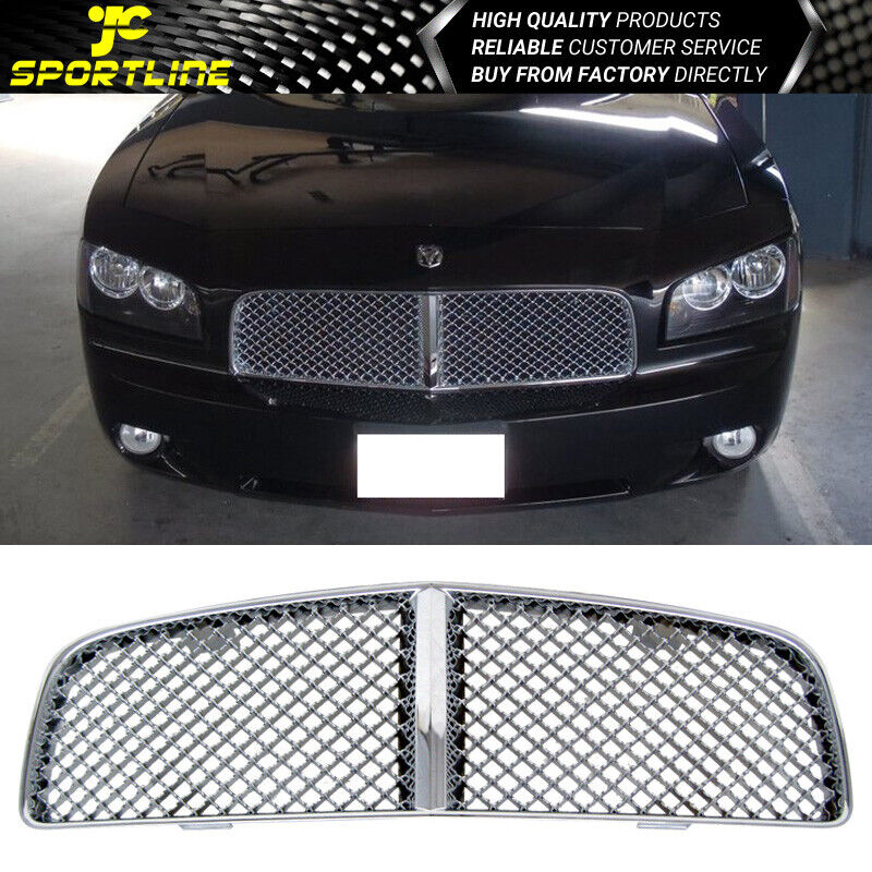 for 06 10 dodge charger chrome mesh front hood grill. Black Bedroom Furniture Sets. Home Design Ideas