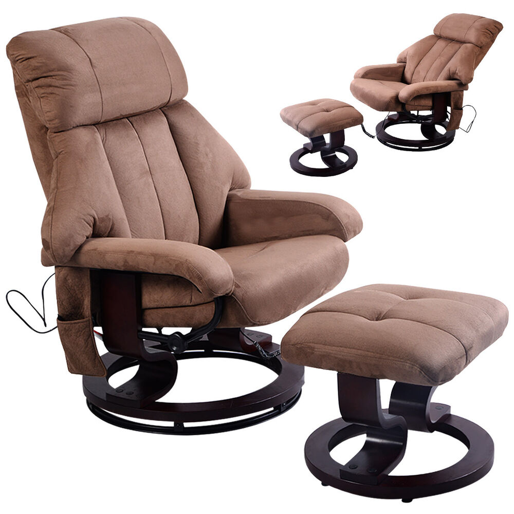 recliner chair ottoman with 8 motor massage heated swivel ebay
