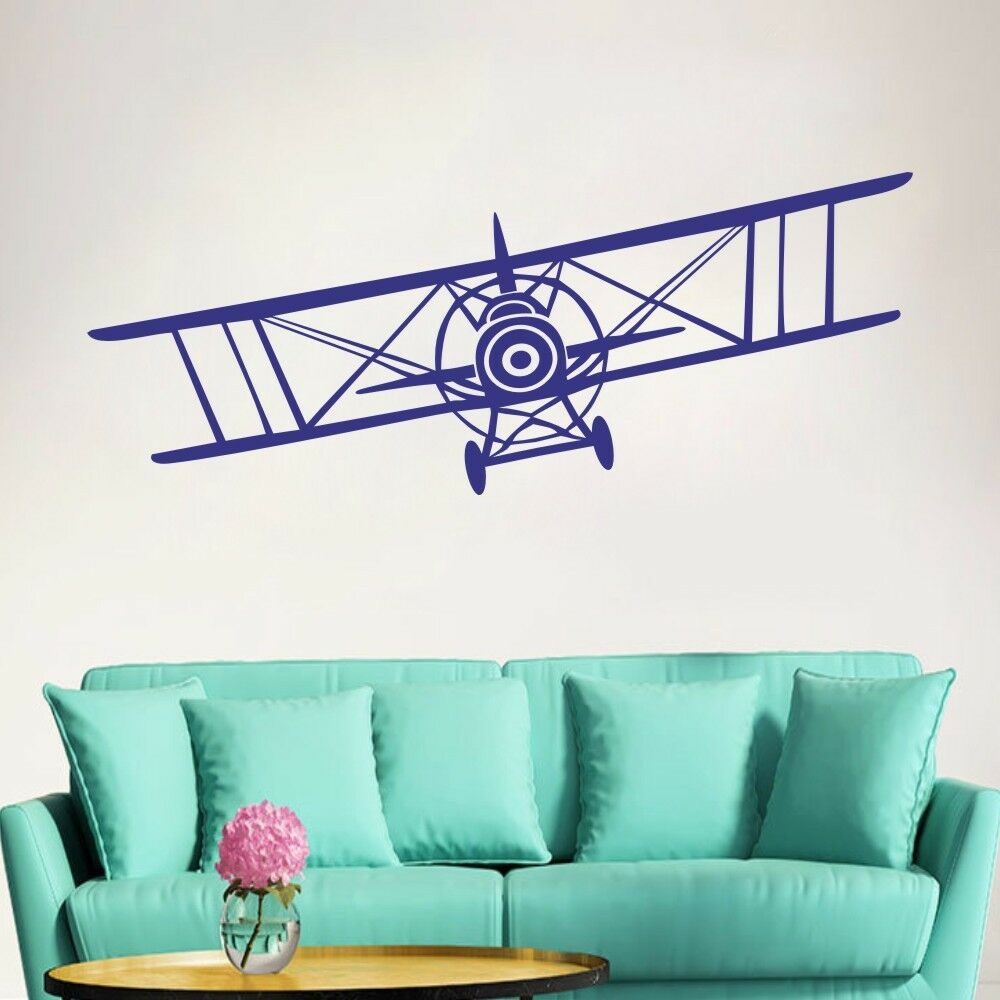 Airplane wall decal biplane vinyl inspired nursery kids for Aeroplane wall mural