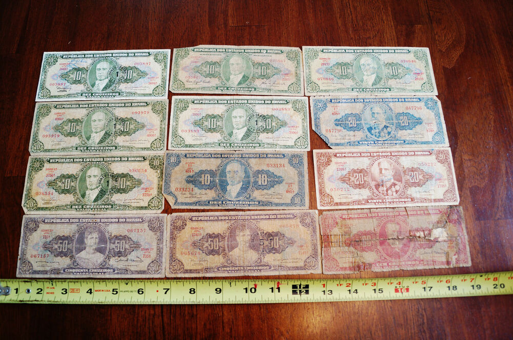 Mixed lot of 12 three hundred face value in brazil paper for Antique items worth a lot of money