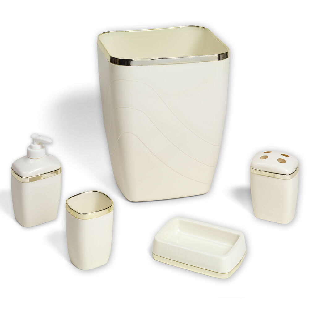 5 piece bath bathroom accessory set wastebasket soap dish ivory w gold trim ebay - Bathroom soap dish sets ...